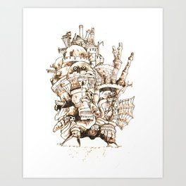 Howl's Moving Castle - Pyrography Art Print