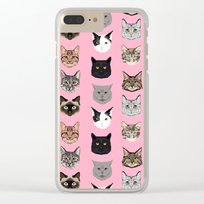Cute Cat breed faces smiling kitten must have gifts for cat lady cat man cat lover unique pets Clear iPhone Case