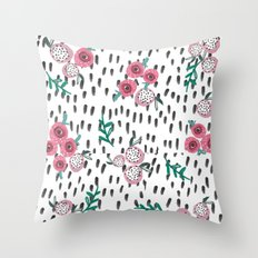 Rose. Illustration, pattern, print, floral design, art, painting, flowers, flower, Throw Pillow