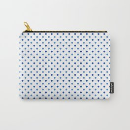 Geometrical trendy navy blue white polka dots pattern Carry-All Pouch