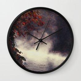 Autumn Light Play - Rising Fog at the River Wall Clock