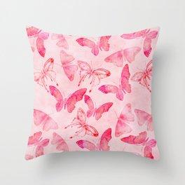 Pink pastel Butterflies allover pattern Throw Pillow