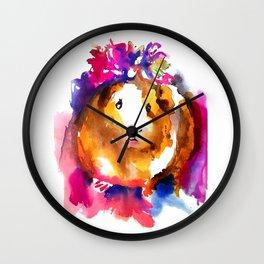 Guinea Pig in Flower Crown Wall Clock