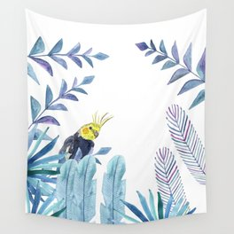 Cockatiel with tropical foliage Wall Tapestry