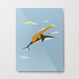 Giraffe riding shark Metal Print
