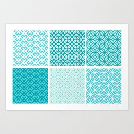 Aquatic Blue Geometric Pattern Collection Art Print