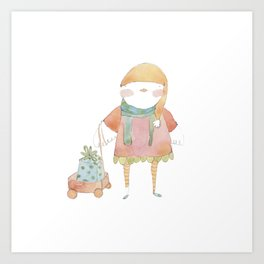 Bird Elf with a Gift Art Print