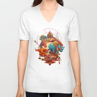 stone V-neck T-shirts featuring rhinos stone by Tanya_tk