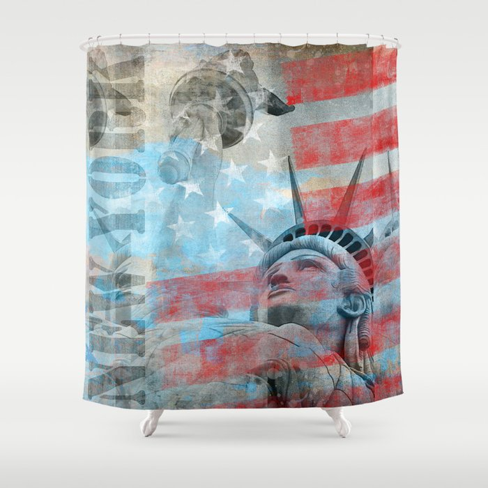 Lady Liberty Stars and Stripes Patriotic Artwork Shower Curtain by ...