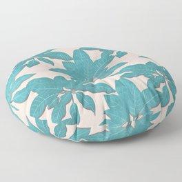 Elegant tropical Teal leaves Pink design Floor Pillow