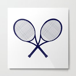 Crossed Rackets Silhouette Metal Print