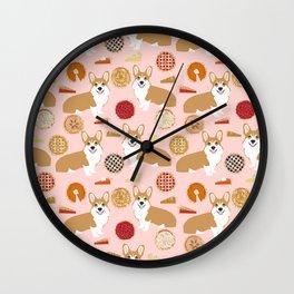 Corgi Pies - pumpkin pie, bakery, baker, cute food, pumpkin pie Wall Clock