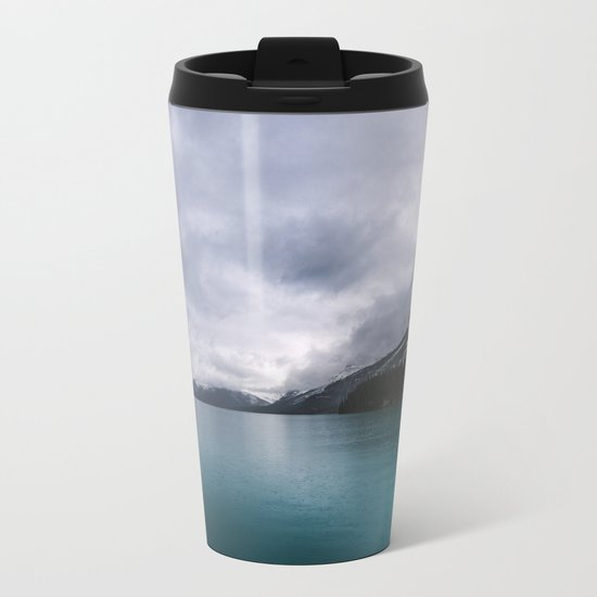 Landscape Photography Maligne Lake Mountain View | Turquoise Water | Alberta Canada Metal Travel Mug