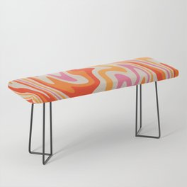 70s Retro Swirl Color Abstract Bench