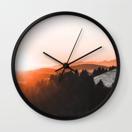 Warm Mountains Wall Clock