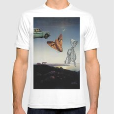 And I Feel Like Everything's Surreal MEDIUM Mens Fitted Tee White
