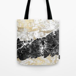 Modern chic faux gold white black elegant marble Tote Bag