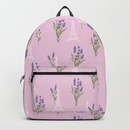 Elegant lavender lilac white Paris Eiffel Tower floral Backpack