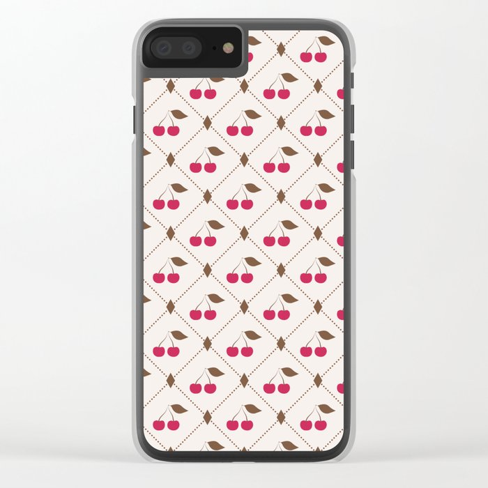 Seamless pattern with cherries and polka dot rhombus Clear iPhone Case