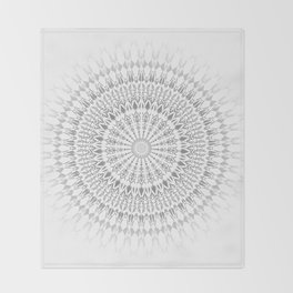 Gray White Mandala Throw Blanket