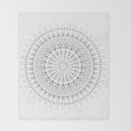 Light Grey White Mandala Throw Blanket