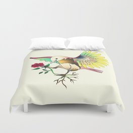 Flying with roses Duvet Cover