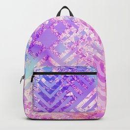 Holographic Glam - Geometric Pattern on Holo Effect Background Backpack