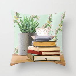 Tea and book love Throw Pillow