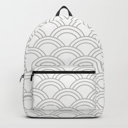 White & Gray Japanese Seigaiha Wave Backpack