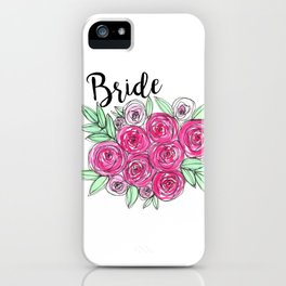 Bride Wedding Pink Roses Watercolor iPhone Case