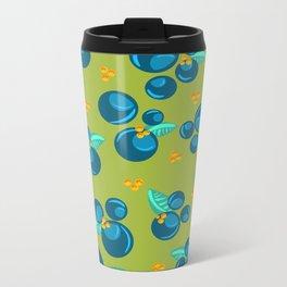 Blueberries | Green Metal Travel Mug