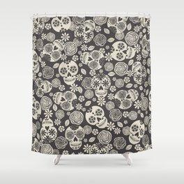 Sugar Skulls - Black & White Shower Curtain