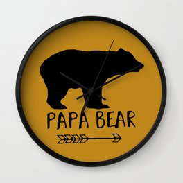 Papa Bear Brown Wall Clock