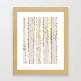 Metallic Birch Trees Framed Art Print