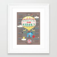 calender Framed Art Prints featuring Welcome to the Circus 2016 Calender by Elisandra