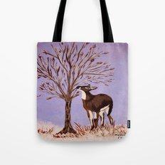 Deer by the tree Tote Bag