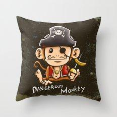 Dangerous Monkey! Throw Pillow