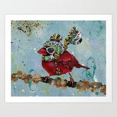 Cardinal Blaze Art Print