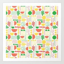 Papercut Collage White Art Print