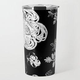 Black and White beaded flower print by Annalee Beer Travel Mug