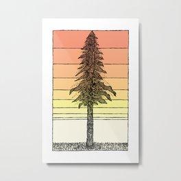 Coastal Redwood Sunset Sketch Metal Print