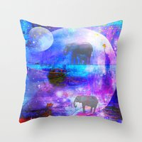 paradise Throw Pillows featuring paradise by haroulita