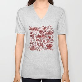 "Zelda ""Hero of Time"" Toile Pattern - Goron's Ruby Unisex V-Neck"