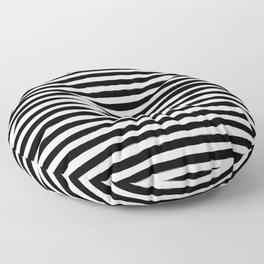 Black And White Hand Drawn Horizontal Stripes Floor Pillow