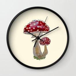 Fly Agaric Cream Wall Clock