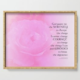 Serenity Prayer Pink Rose Blend Serving Tray
