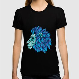 Triangular Abstract Lion in Shades of Blue T-shirt