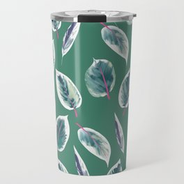 Rubber tree, rubber plant leaf, tropical leaf, palm leaf Travel Mug