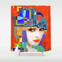 nouveau Shower Curtains featuring Nouveau Girl 2 by Steve W Schwartz Art