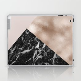 Layered rose gold and black campari marble Laptop & iPad Skin